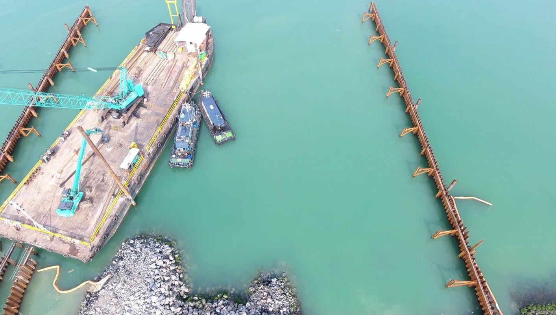 2016 Tuas Desalination Plant Civil work,  Sea water barrier ( 2 rows 100*12m)